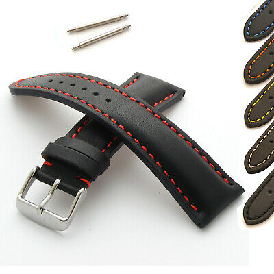 Genuine Leather Men's Watch Strap Band Padded Coloured Stitching 18 20 22mm 24mm