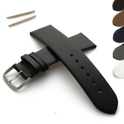 Genuine Leather Watch Strap Flat Band with Buckle for Mens or Womens Wristwatch