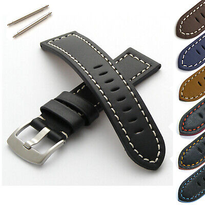 Genuine Leather Watch Strap Band Brushed Steel Buckle Mens or Womens Wristwatch