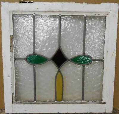 "OLD ENGLISH LEADED STAINED GLASS WINDOW Pretty Geometric Design 21.25"" x 21"""
