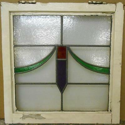 "OLD ENGLISH LEADED STAINED GLASS WINDOW Pretty Geometric Sweep 21.5"" x 21.75"""