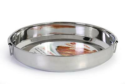29 cm Stainless Round Steel Roasting/ Oven tray Dish, Silver with 1 handle