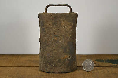 Old Patined Antique Med Cow Bell Dairy Farm Hand Hammered & Pinned with Clanger
