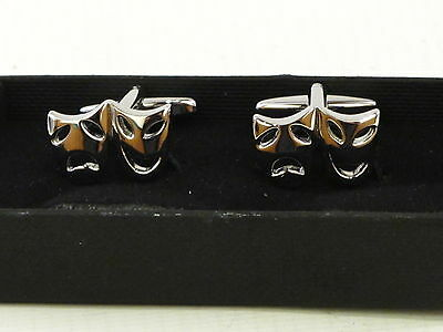 Tragedy Comedy Theatre Mask Cufflinks Stainless Steel Gift Mens Jewellery Boxed