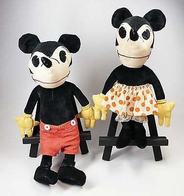 "1930s Velveteen 18"" Mickey Mouse & 16"" Minnie Mouse Stuffed Toy Animals ""As Is"""