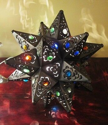 Mexican Tin Star Lantern with Multi Colored Marbles - Wired, Dark Finish