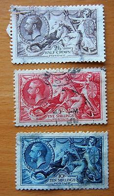 Great Britain -  King George V - Sea Horses - 3 Very Fine Used Stamps