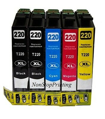 5PK Hi-Yield 2BK & Color Ink For Epson 220 XL XP320 420 424 WF2630 WF2650 WF2660