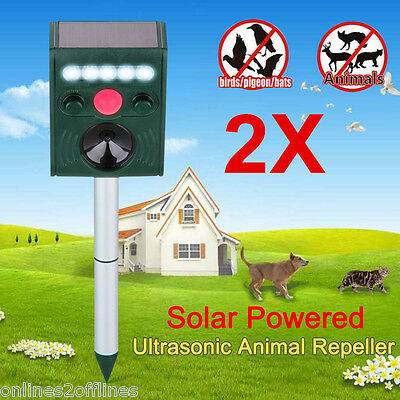 LED Ultrasonic Solar Power Pest Animal Repeller Cat Rats Dog Mouse Fox Repellent