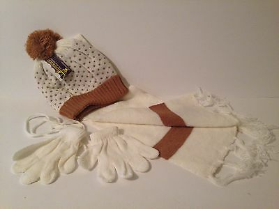 Winter Knit Baby Scarf Beanie Gloves Hat Set Infants & Toddlers Sz Small  C/T