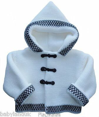Baby Boys Sailor Warm Thick White Navy Knitted Hooded Cardigan Jacket Pram Coat
