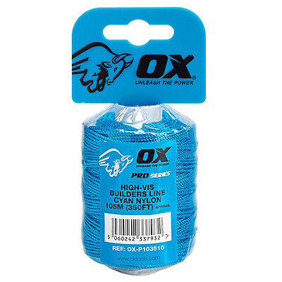 Ox Tools Pro Cyan Brick Line 105M / 350Ft - Cyan Colour For High Visability