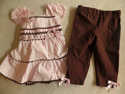 baby girls RARE EDITIONS GORGEOUS 2 PC OUTFIT SET pink brown LEGGINGS 9 MONTHS