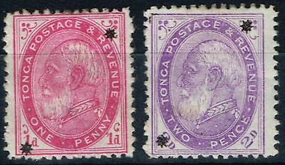 Tonga 1891 set of 2 SG7-8 Mtd Mint