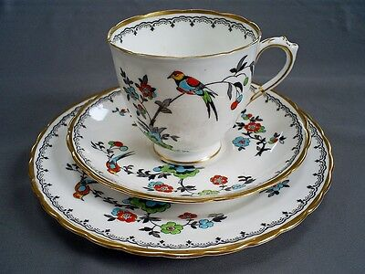 Vintage Art Deco Plant Tuscan China Bird Of Paradise Tea Cup/saucer/plate Trio