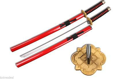 Red Wooden Samurai Katana Sword with Scabbard Cosplay Weapon
