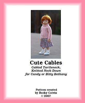 """""""CUTE CABLES-B""""--Pattern for 10-12"""" Bethany, Patsy, Plusczok Candy, BID Elin"""
