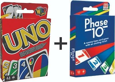 Phase 10 CARD GAME + UNO CARDS Family Fun Playing Card Game by Mattel