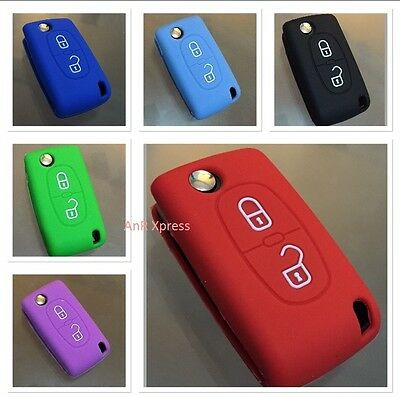 "Silicone Cover for Peugeot 207 307 407 308 607 Key Case Fob 2 Button ""WITH LOGO"""