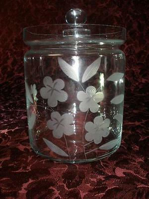 Fabulous Fine Etched Glass Storage Jar With Lid