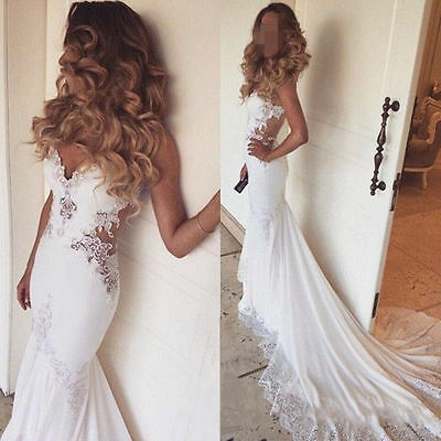 2016 Sexy Backless Beads Bridal Gowns Mermaid Wedding Dresses Custom Size2-18+++