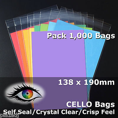 1,000 CELLO Bags 138x190mm PP Cellophane Crystal Clear Adhesive Lip #PR138190
