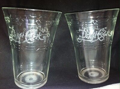 "Set of 2 Pepsi Cola Flared Glass Tumbler - Etched Glass - 4.75"" Tall"