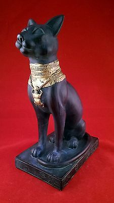 statue, egyptian cat goddess bastet, heavy resin, hand painted, tabletop, 8""
