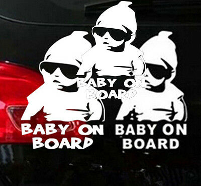 3X PERSONALISED Baby On Board Child Window Bumper VAN CAR Sign Decal Sticker BOS