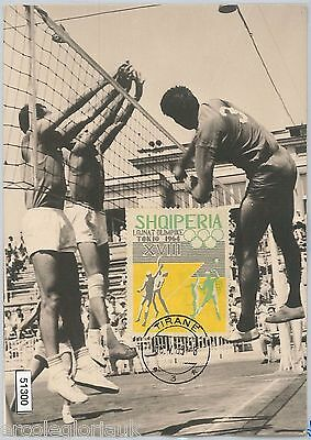 51300 - ALBANIA - MAXIMUM CARD - 1964 OLYMPIC GAMES in TOKYO: VOLLEYBALL