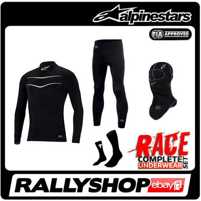Alpinestars Underwear SET RACE FIA Top Bottoms Balaclava Socks BLACK Car Tuning