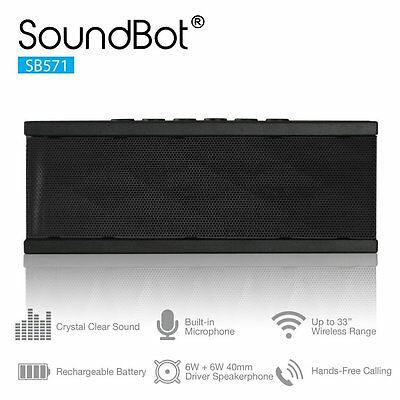 SoundBot SB571 Bluetooth Wireless Speaker for 12 hrs Music Streaming NEW (CXX)