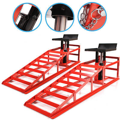 2 Ton Heavy Duty Hydraulic Car Van 4X4 Vehicle Garage Jack Metal Ramp Lift Pair