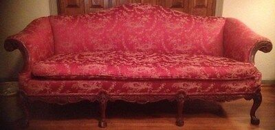Antique camelback, down-filled, 1 cushion seat; absolutely beautiful red -BEAUTY