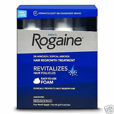 ROGAINE MEN  5% MINOXIDIL Foam Unscented Hair Growth  4 Months Boxed UK STOCK
