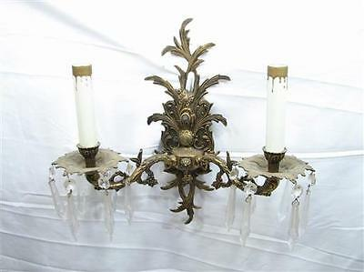 Vintage Brass Wall Sconce w/Crystals Light Candelabra Ornate Victorian Decor