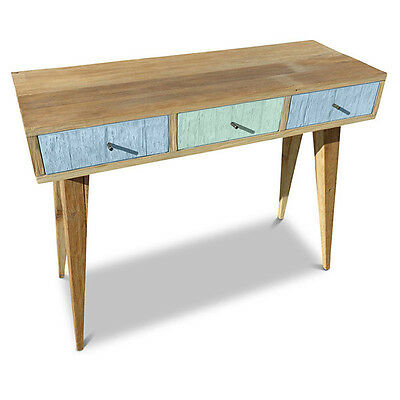 Rustic Wooden Hallway Console Table Vanity Desk with 3 Drawers in Blue & Green