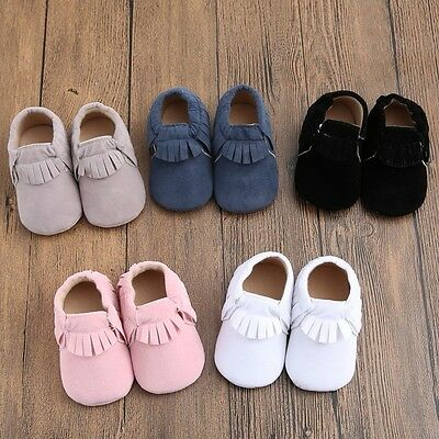 Baby Soft Sole suede/Leather Shoes Infant Boy Girl Toddler Moccasin 0-18m # QU