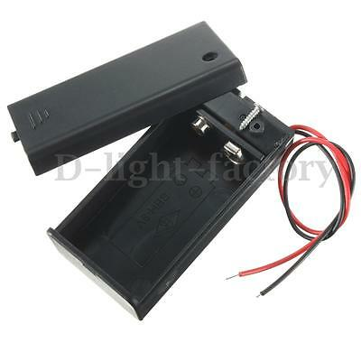 1/2X 9v Battery Clip Holder Box Case Pack Cover with ON/OFF Toggle Switch 9 Volt