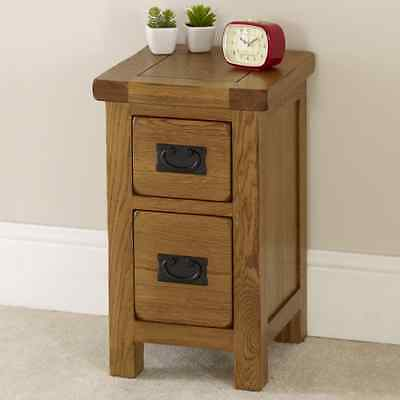 Rustic Oak 2 Drawer Slim Bedside Table - Solid Bedroom Furniture Lamp Side RS40