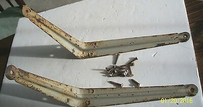 Vintage Pair Of Metal Shelf Brackets, Chipped Worn Paint