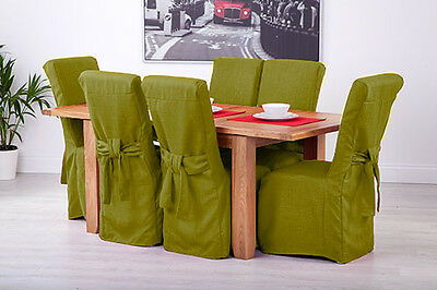 Set of 6 Lime Linen Fabric Dining Chair Covers for Scroll Top High Back Leather