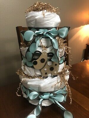 Lil' Monkey 3 tier diaper cake Pampers Swaddlers! Boy or Girl Brown/Pink or Blue