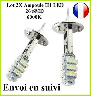 2X Ampoules H1 LED 26 SMD Blanc Pure 6000K Xenon Phare Feux Anti-Brouillard
