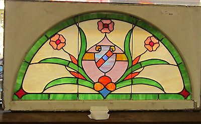 Antique Arched Transom Stain Glass Window - Local Pick Up Only!