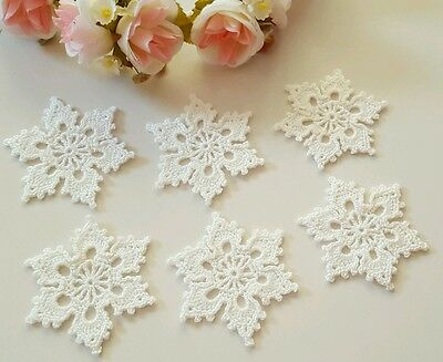 "Lot of 10 White Hand Crochet Floral Doilies Snowflake 3"" Ornaments , no glue"