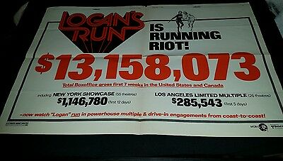 Logan's Run Rare Original Box Office Promo Poster Ad Framed!