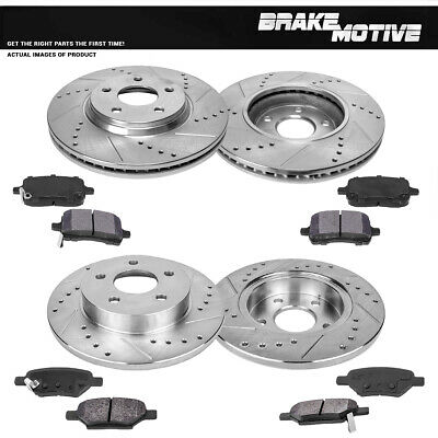 Front & Rear DRILLED SLOTTED BRAKE ROTORS AND METALLIC PADS G6 Malibu Cobalt