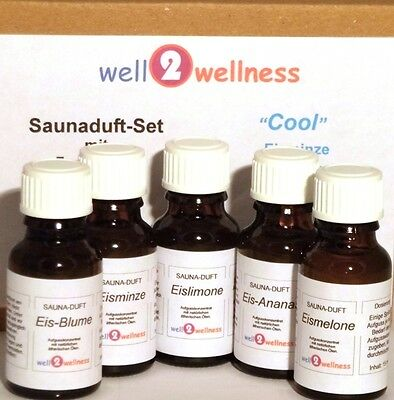 Sauna Set Of Essential Oils For / scent - 'COOL' (with Menthol) 5 x 15ml Bottles