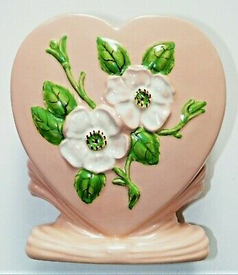 Hull Pottery Rosella R-8 heart shaped vase foil label
